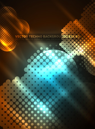 Shiny neon glowing circles, dot particles structure. Vector digital technology abstract background, backdrop for techno presentation or web banner template