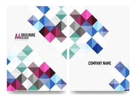 Square business a4 brochure cover design, flyer, annual report. Vector background
