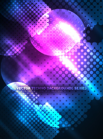 Shiny neon glowing circles, dot particles structure Illustration