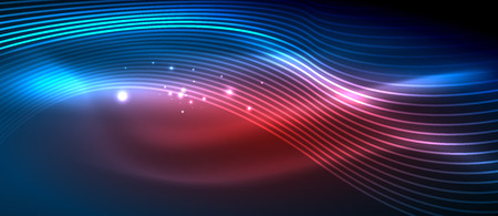Glowing abstract wave on dark, shiny motion Illustration