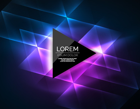 Color neon glowing triangles, abstract background