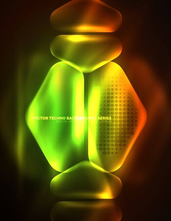 Illuminated lens flares, glowing color techno background. Vector hi-tech abstract background, HUD style
