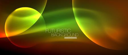 Glowing glass circles, geometric shiny futuristic background, vector techno design Illustration
