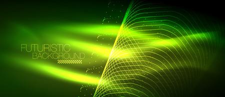 Hi-tech futuristic techno background, neon shapes and dots Illustration