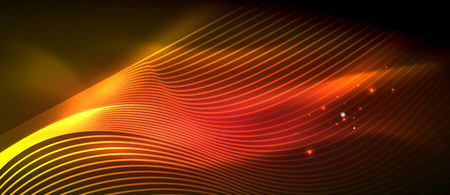 Glowing abstract wave on dark, shiny motion, magic space light. Vector techno abstract background, red and orange colors