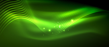Glowing abstract wave on dark, shiny motion, magic space light. Vector techno abstract background, green color Illustration