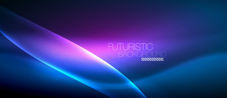 Neon glowing wave, magic energy and light motion background. Vector wallpaper template  イラスト・ベクター素材