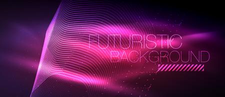 Hi-tech futuristic techno background, neon shapes and dots. Illustration