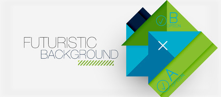 Square shapes banner design, geometric abstract background. Vector business slogan, info graphics or presentation template.  イラスト・ベクター素材