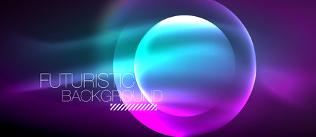 Glowing glass circles, geometric shiny futuristic background. Vector digital technology abstract background, backdrop for techno presentation or web banner template.