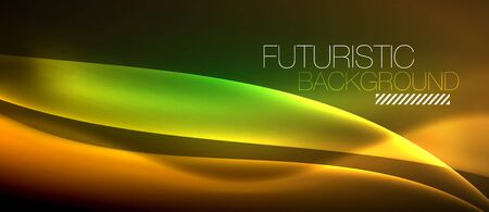 Neon glowing wave, magic energy and light motion background. Vector wallpaper template design. Illustration