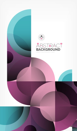 Color circle abstract geometric background, modern shapes with message. Vector techno or business template, round elements.