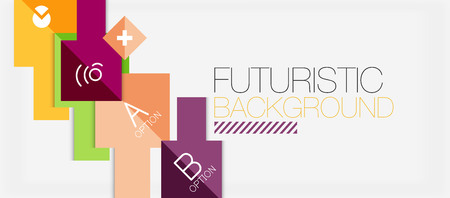 Square shapes banner design, geometric abstract background. Vector business slogan, infographics or presentation template