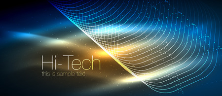Hi-tech futuristic techno background, neon shapes and dots. Technology connection, big data, dotted structure, blue and orange colors Illustration