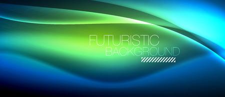 Neon gloeiende golf, magische energie en lichte motieachtergrond. Vector behangsjabloon Vector Illustratie