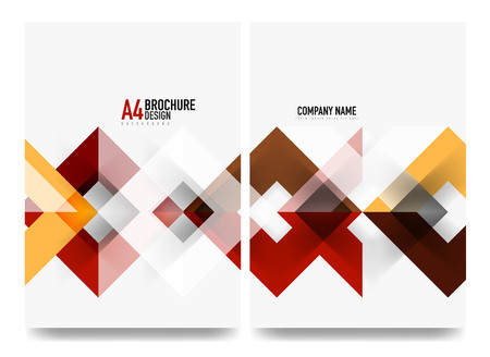 Business brochure cover layout, flyer a4 template. Triangle red and orange geometric design Vettoriali