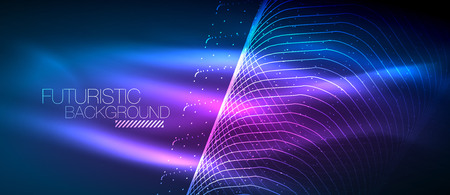 Hi-tech futuristic techno background, neon shapes and dots. Technology connection, big data, dotted structure, blue and purple colors