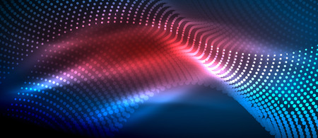 Glowing abstract wave on dark, shiny motion, magic space light. Vector techno abstract background, blue and red colors Illustration