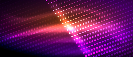 Neon light effects, particles, big data illustration concept, vector, purple color