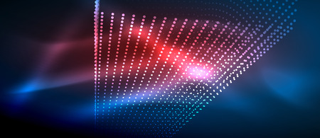 Neon light effects, particles, big data illustration concept, vector