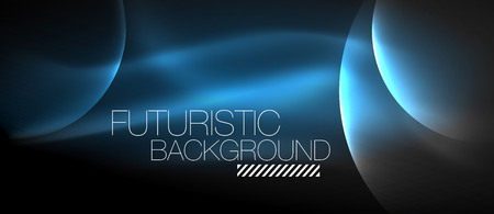 Glowing glass circles, geometric shiny futuristic background, vector techno design. 向量圖像