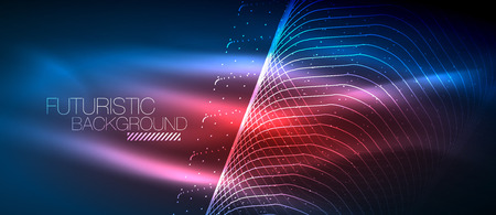 Hi-tech futuristic techno background, neon shapes and dots. Vectores