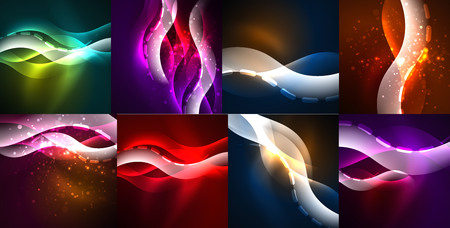 Space glowing waves, modern abstractions, collection of pattern.