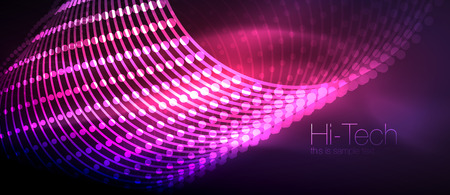 Hi-tech futuristic techno background, neon shapes and dots Illustration