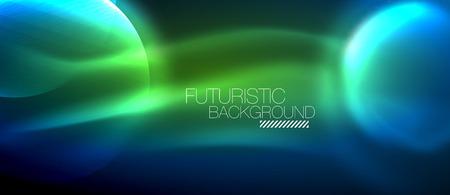 Glowing glass circles, geometric shiny futuristic background, vector techno design Ilustracja