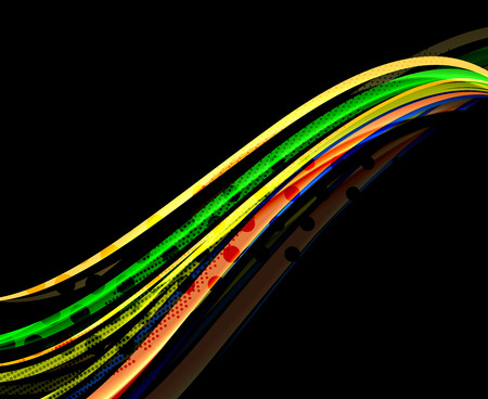 Rainbow color wavy lines on black background. Minimalistic dark background with stripes and light effects Vectores