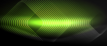 Neon glowing techno lines, hi-tech green futuristic abstract background template with square shapes Illustration