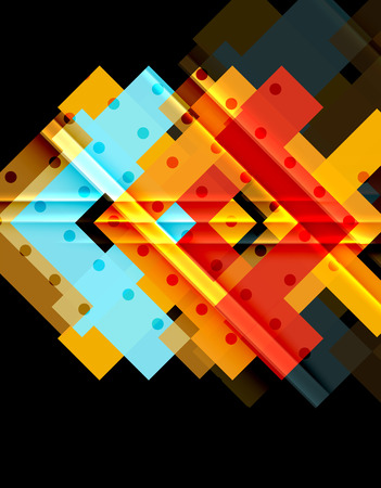 Colorful triangles and arrows on dark background. Vector illustration Illustration