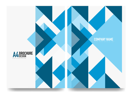 Business brochure cover layout template. Triangle blue geometric design