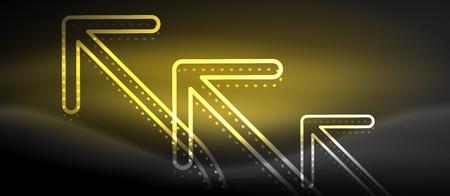 Techno neon glowing arrow background Illustration
