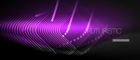 Neon glowing techno lines abstract geometric background, modern shapes with message.