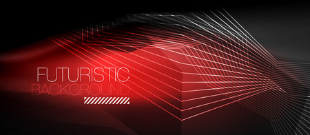 Straight neon lines abstract geometric background, modern shapes with message.