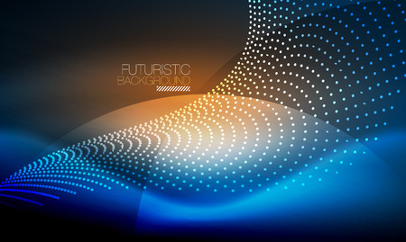 Abstract dots  effect as Smooth blue neon wave concept  background design Illustration