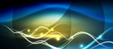 Bright neon lines wave abstract futuristic background design