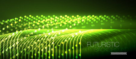 Neon glowing techno lines abstract futuristic background design
