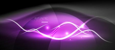 Bright neon purple lines wave abstract futuristic background design