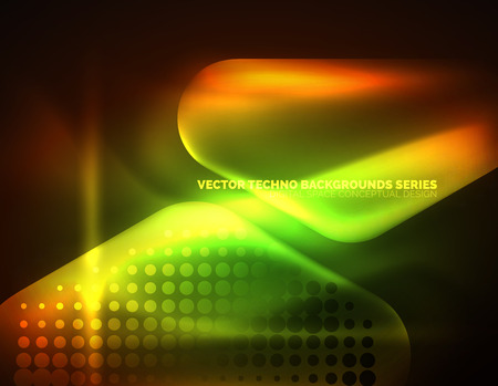 Illuminated lens flares, glowing color techno background. Illustration