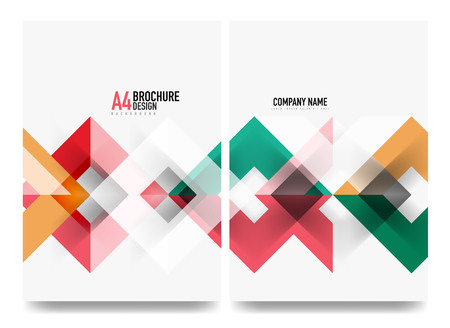 Business brochure cover layout, flyer a4 template. Triangle geometric design