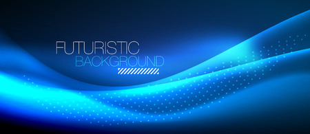 Shiny color smooth elegant neon wave. Vector background template.