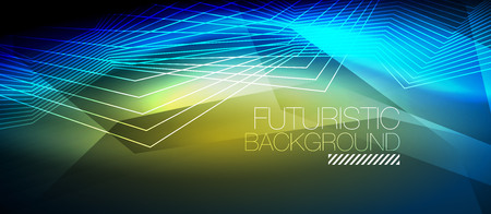 Straight neon lines in dark space, vector techno abstract template. Illustration
