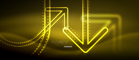 Techno neon glowing arrow background Vector modern hi-tech technology abstract template