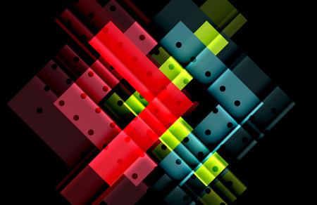 Color arrows on black background Illustration