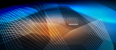 Straight neon lines in dark space, vector techno abstract template