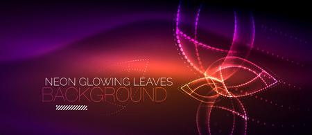 Purple neon leaf background wave energy concept vector illustration