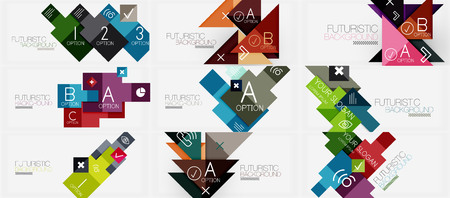 Collection of geometric composition banner templates Illustration