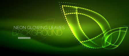 A Vector neon leaf background, green energy concept